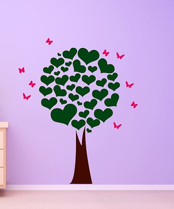 Dark Green & Hot Pink Heart Tree Wall Decal