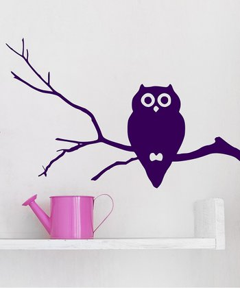 Orchid Owl Branch Wall Decal