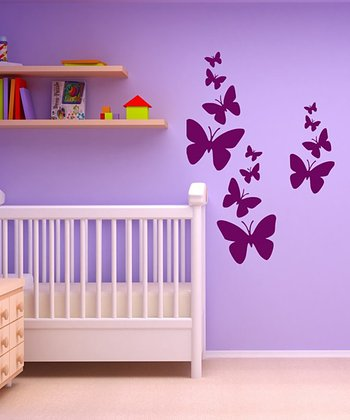 Orchid Butterfly Wall Decal Set