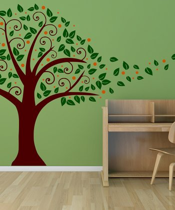 Brown & Orange Nursery Tree Blowing in the Wind Wall Decal Set