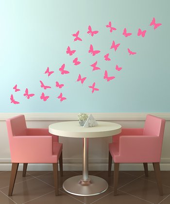 Pink Butterfly Wall Decal Set