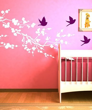 White & Orchid Cherry Blossom Branch Wall Decal