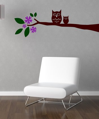 Orchid & Brown Whimsical Owl Branch Wall Decal