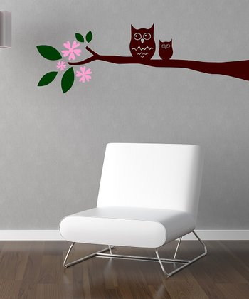 Pink & Brown Whimsical Owl Branch Wall Decal