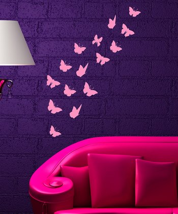 Pink Butterfly Swirl Wall Decal Set
