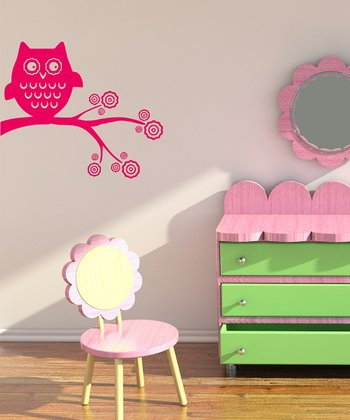 Hot Pink Whimsical Owl Wall Decal