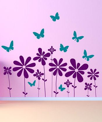 Purple & Teal Butterflies & Flowers Scene Wall Decal Set