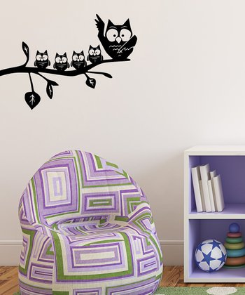 Black Mom & Baby Owl Wall Decal