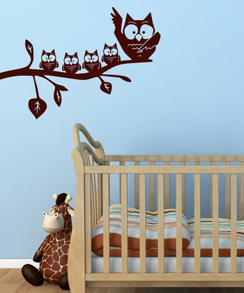 Brown Mom & Baby Owl Wall Decal