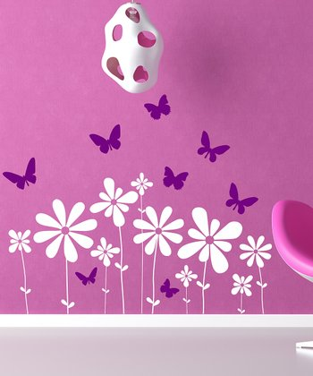 White & Purple Butterflies & Flowers Scene Wall Decal Set
