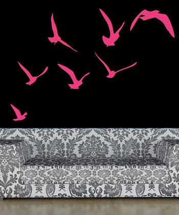 Hot Pink Flock of Birds Wall Decal Set