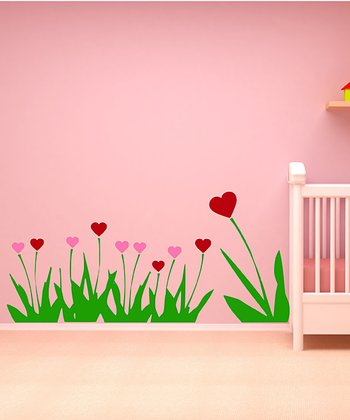 Pink & Red Heart Flower Forest Wall Decal