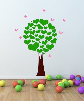 Green & Pink Heart Tree Wall Decal