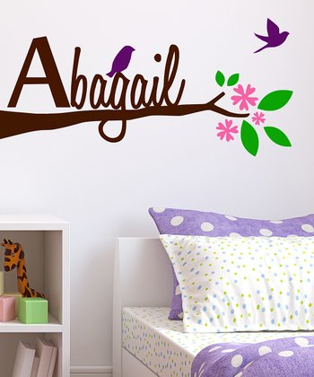 Brown Tree Limb & Birds Personalized Wall Decal Set