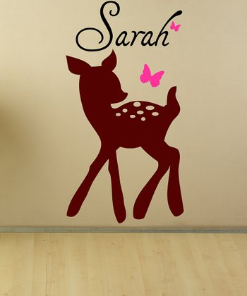Brown & Hot Pink Personalized Fawn Wall Decal