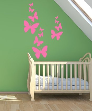 Hot Pink Butterfly Wall Decal Set