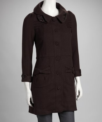 Deep or Shallow Chocolate Wool Coat