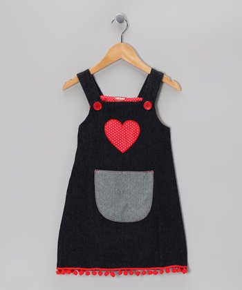 Midnight Wash Heart Jumper - Toddler & Girls