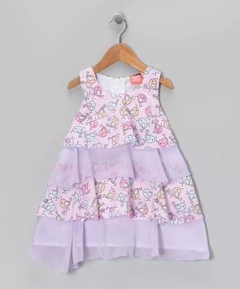 Lavender & Pink Bird Ruffle Dress - Toddler & Girls