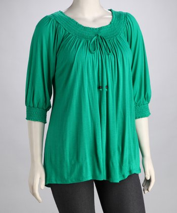 Green Plus-Size Peasant Top