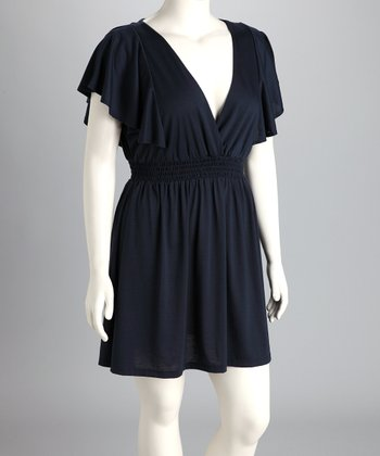 Navy Plus-Size Surplice Dress