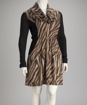 Brown Cowl-Neck Zebra Plus-Size Dress