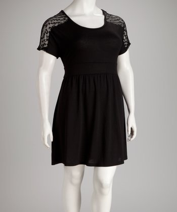 Black Lace-Sleeve Plus-Size Dress