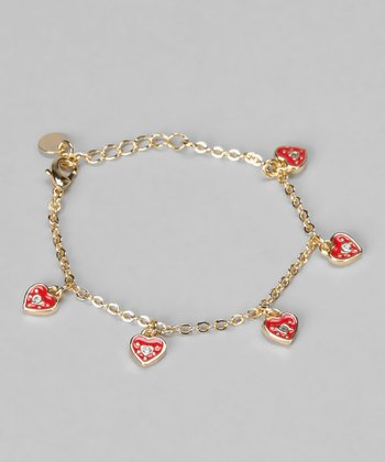 Red Cubic Zirconia & Gold Heart Bracelet