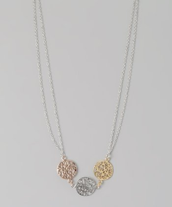 Sterling Silver & Gold Filigree Circle Charm Necklace