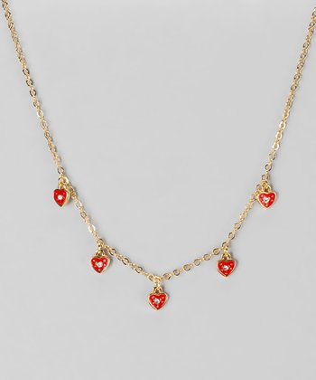 Red Cubic Zirconia & Gold Heart Necklace