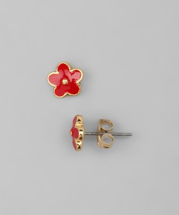 Red Flower Post Earrings
