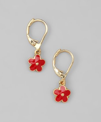 Red Flower Lever-Back Earrings