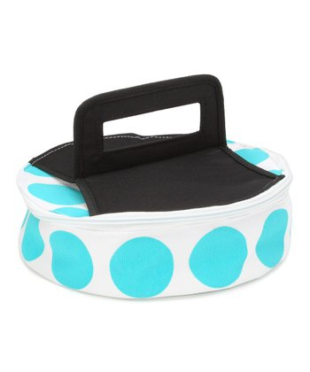 Blue Polka Dot Round Insulated Food Carrier