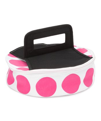 Pink Polka Dot Round Insulated Food Carrier