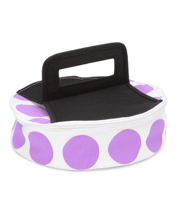 Purple Polka Dot Round Insulated Food Carrier