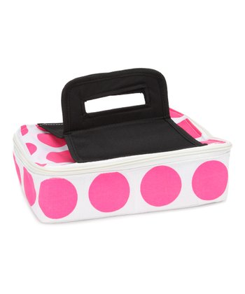 Pink Polka Dot Square Insulated Food Carrier