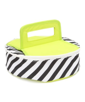 Diagonal Stripe Round Insulated Food Carrier