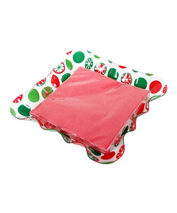 Dennis East International Red & Green Ruffle Napkin Tray Set