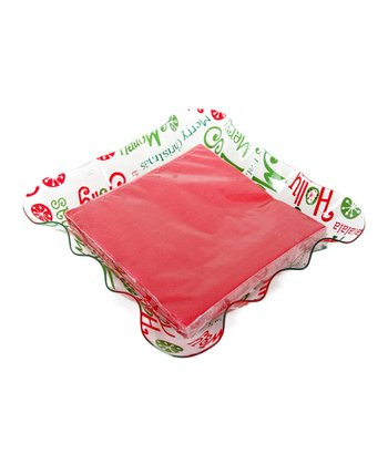 Dennis East International Green & Red Ruffle Napkin Tray Set