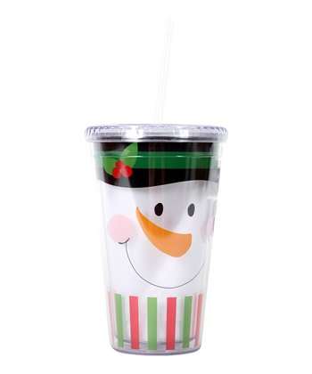 Green Snowman Face 18-Oz. Tumbler