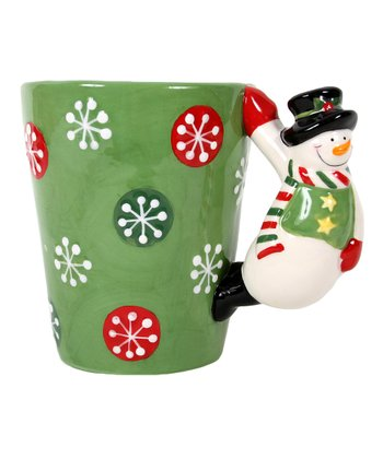 Green Snowman-Handle Latte Mug