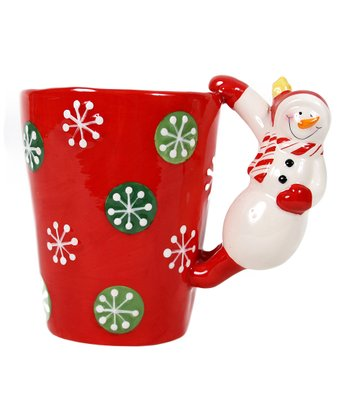 Red Snowman-Handle Latte Mug
