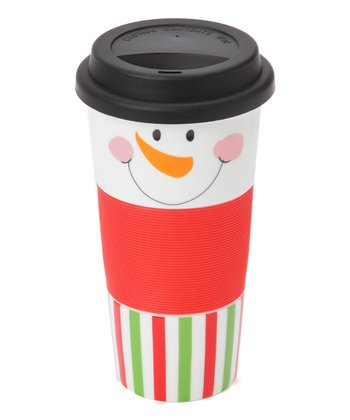 Red & Green Snowman Face 13-Oz. Tumbler