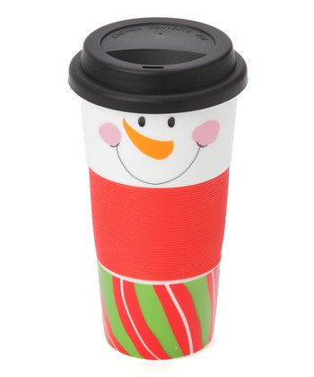 Green & Red Snowman Face 13-Oz. Tumbler