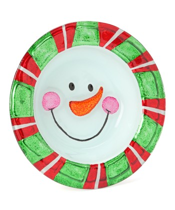 Dennis East International Green & Red Snowman Face 7'' Bowl