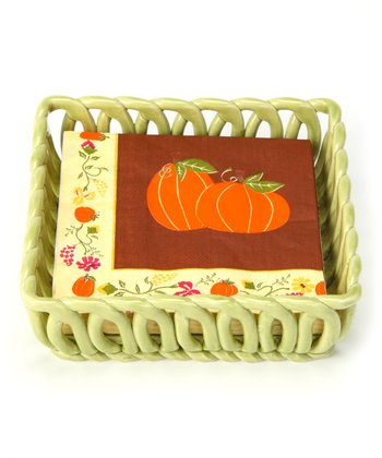 Green Woven Basket & Napkin Set