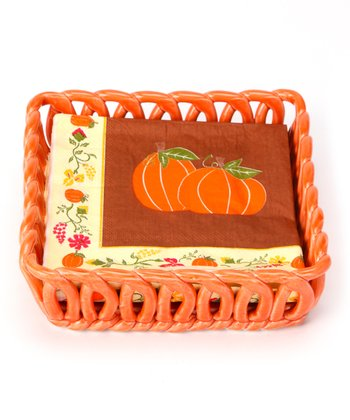 Orange Woven Basket & Napkin Set