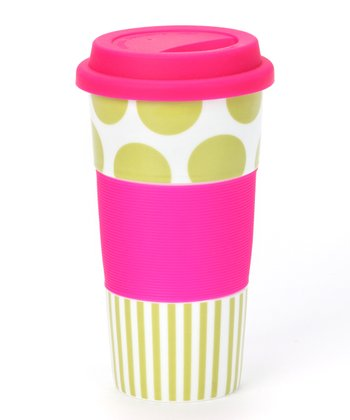 Pink & Green Travel Tumbler