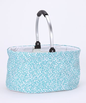 Blue Leopard Folding Basket