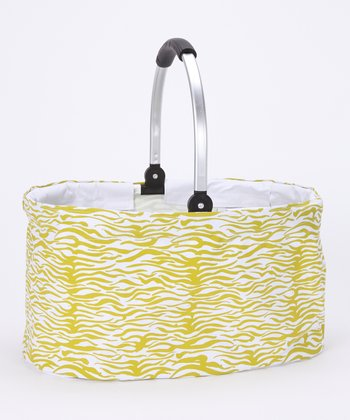Green Zebra Folding Basket